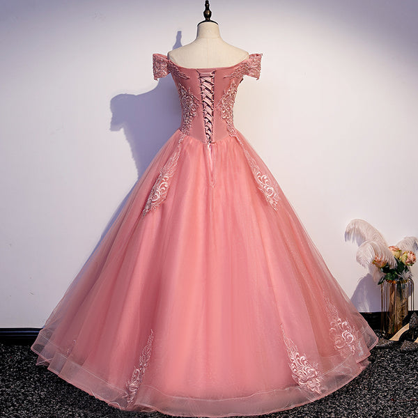 Charming Pink Off Shoulder Lace Applique Sweetheart Party Dress, Pink Prom Dress