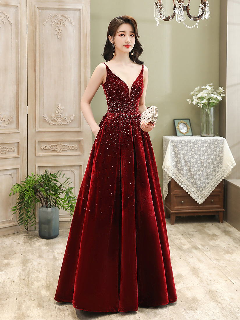 Wine Red Velvet Straps Long Evening Dress, Floor Length New Style Prom Dress, Paty Dress