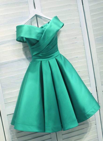 Lovely Green Satin Off Shoulder Knee Length Party Dress, Homecoming Dress