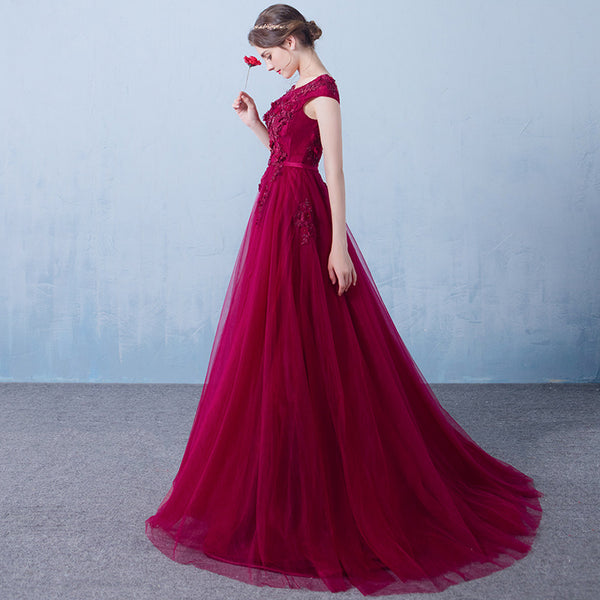 Beautiful Wine Red Long Bridesmaid Dress 2020, Off Shoulder Prom Dress