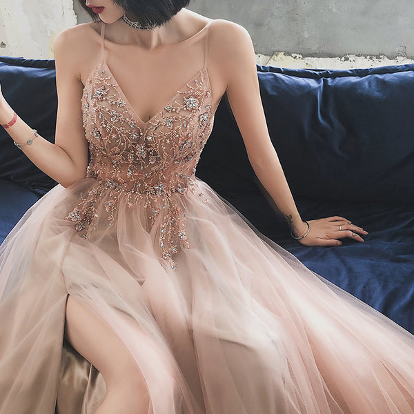 V-neckline Pink Beaded Tulle High Slit Straps Formal Dress, Pink Tulle Party Dress Prom Dress