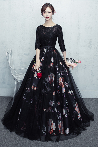 Black Lace Floral Long Party Dress 2020, Prom Dress 2020
