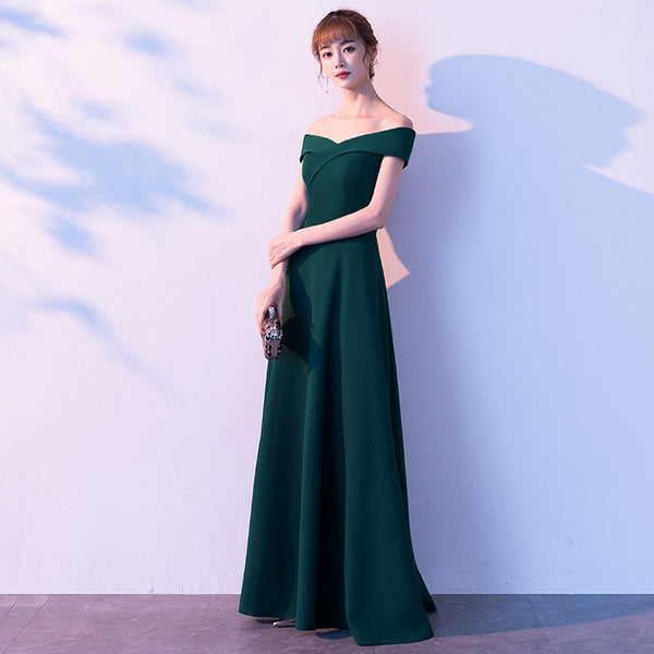 Charming Off Shoulder Green Long Party Dress, Green Bridesmaid Dress 2020