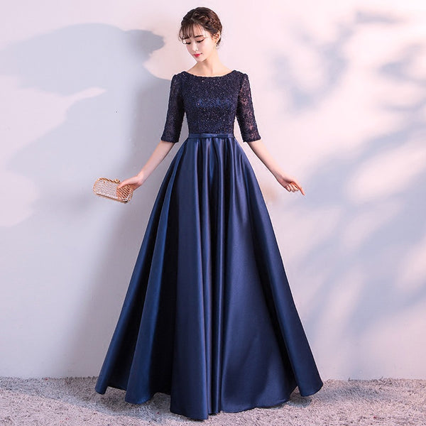 Navy Blue Satin with Lace Top Long Party Dress, Short Sleeves Prom Dress