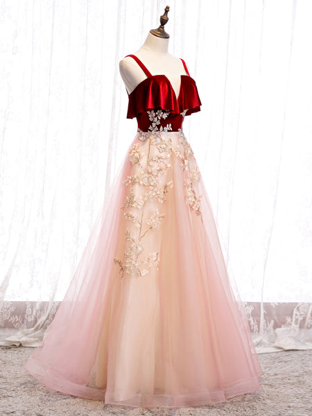 Cute Straps Velvet and Tulle Long Party Dress, A-line Evening Gown
