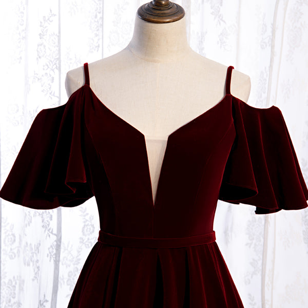 Beautiful Wine Red Velvet Off Shoulder Floor Length Party Dress, Velvet Junior Prom Dress