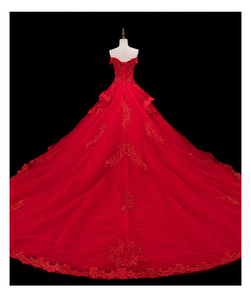 Red Lace and Tulle Gorgeous Off Shoulder Princess Sweet 16 Dress, Red Formal Gown