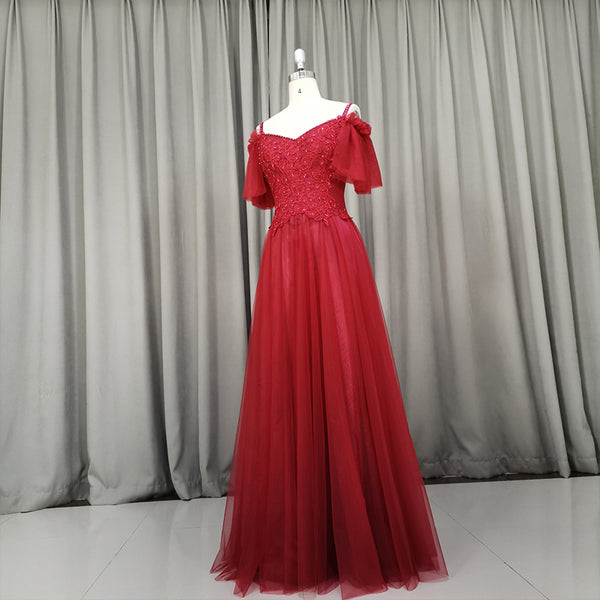 Beautiful Wine Red Tulle Long Party Dress, Handmade Prom Dress