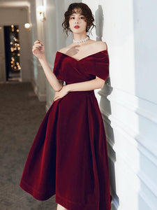 Wine Red Velvet Tea Length Homecoming Dress, Dark Red Party Dresses