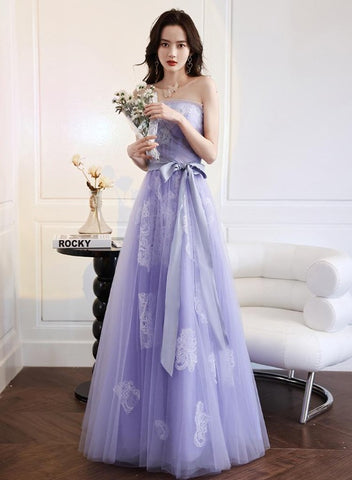 Light Purple A-line Floor Length Lace Charming Formal Dress, Purple Tulle Prom Dress Party Dress