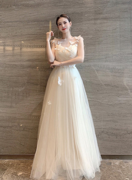 Charming Light Champagne Long Junior Prom Dress, A-line Formal Dress
