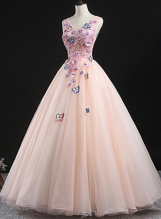 Charming Pink Flowers Ball Gown Long Sweet 16 Dress, Pink Prom Dress