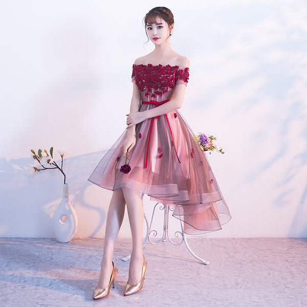Beautiful Pink Tulle High Low Off Shoulder Party Dress, Lace Applique Party Dress