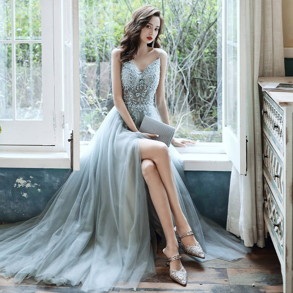 Beautiful Grey V-neckline Straps Beaded Slit Long Prom Dress, Grey Evening Gown