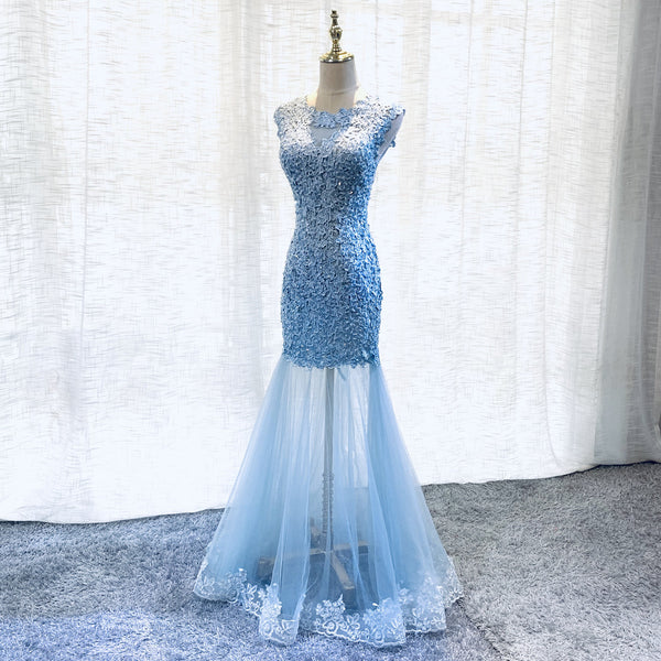 Sexy Blue Lace Mermaid Tulle Long Prom Dress, Round Neckline Lace-up Party Dress
