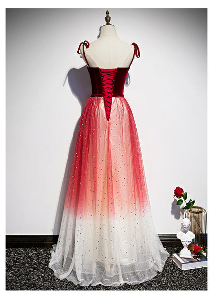 Pretty Red Tulle with Sequins Long Party Gown, Beautiful Red Formal Dress
