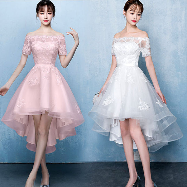 Lovely White High Low Tulle Graduation Dress, Off the Shoulder Party Dress