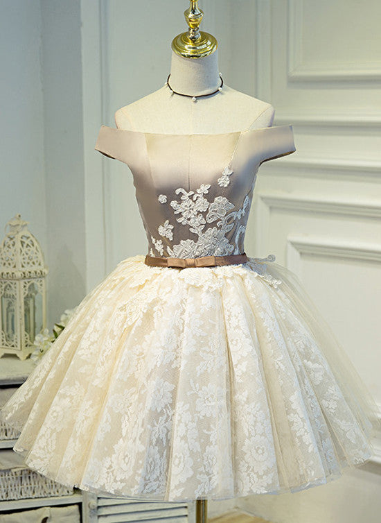 cute champagne lace homecoming dress