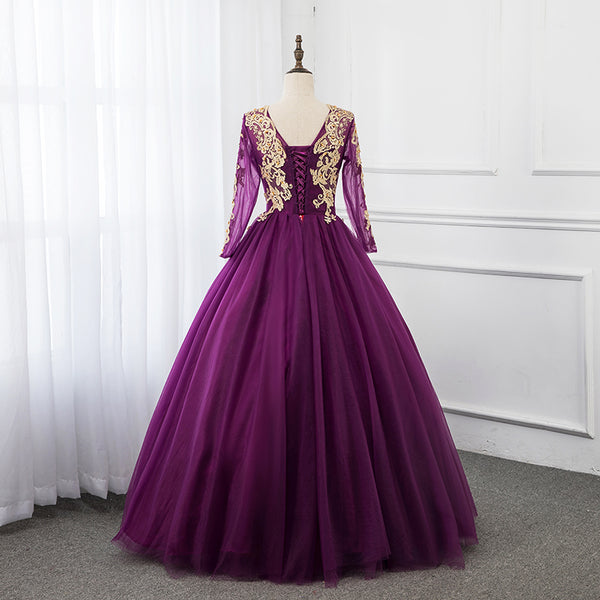Beautiful Purple Tulle Long Sleeves with Lace Applique Party Dress, Long Formal Dress