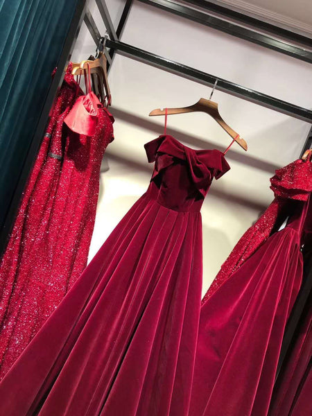 Off Shoulder Red Velvet Off Shoulder New Style Evening Dress, Junior Prom Dress 2019