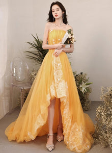 Yellow Unique High Low Tulle with Lace Prom Dress, Yellow Formal Dress Evening Dress