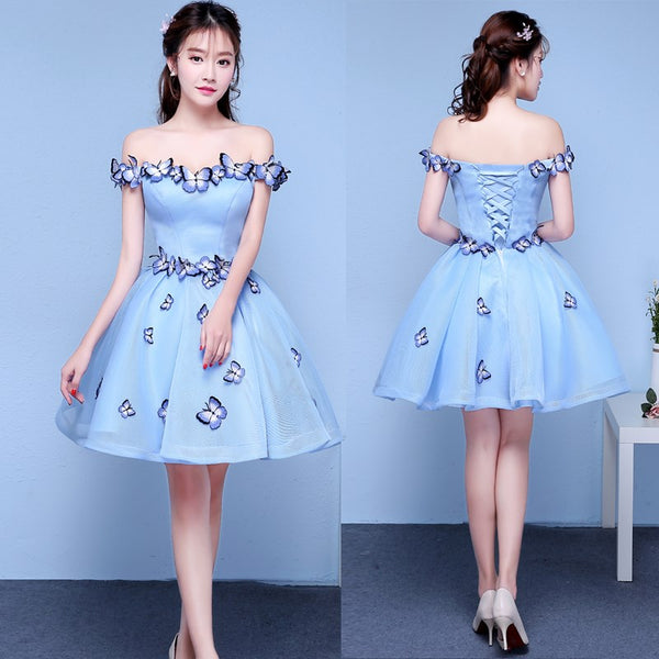 Cute Off Shoulder Blue Tulle Short Party Dress, Blue Homecoming Dress