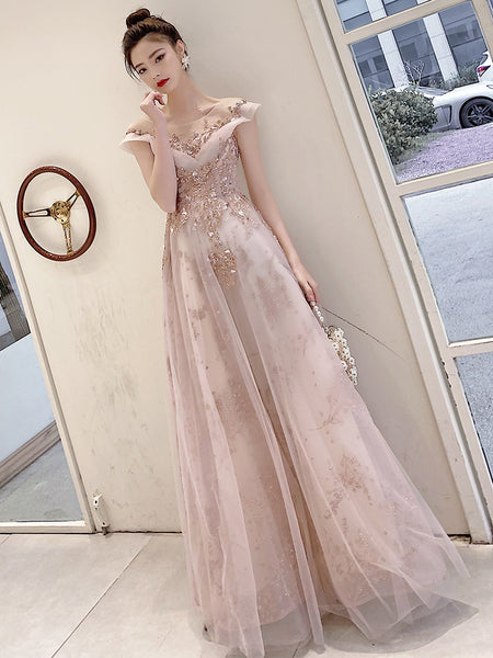 Light Pink Tulle A-line Long Prom Dress, Evening Gowns Party Dress