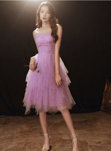 Lovely Light Purple Cute Tulle Straps Short Prom Dress, Purple Homecoming Dress