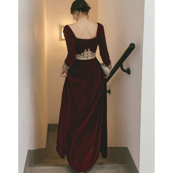 Elegant Wine Red Velvet Long Sleeves Party Dress, Dark Red Evening Dress