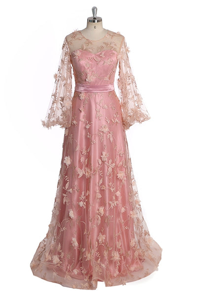 Charming Pink Floral Tulle Long Sleeves Wedding Party Dress, Pink Prom Dress