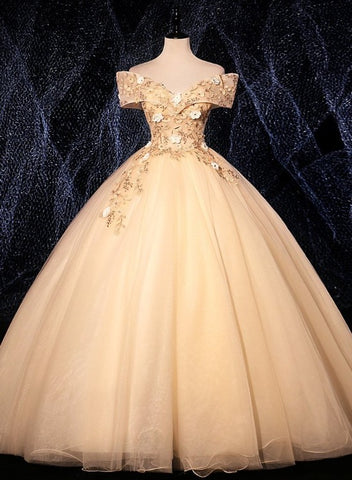 Champagne Tulle Flowers  Off Shoulder Sweet 16 Party Dress, Long Prom Dress, Formal Gown