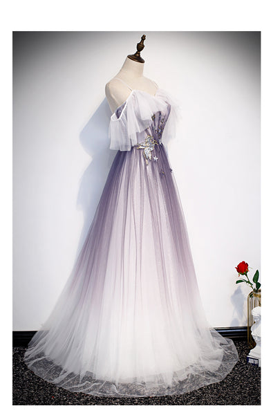 Beautiful Purple Tulle A-line Long Party Dress, Gradient Formal Gown