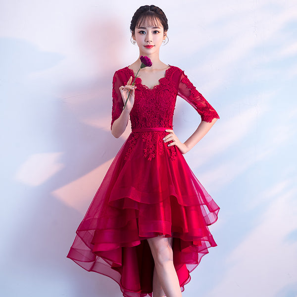 Beautiful Wine Red Short Sleeves High Low Homecoming Dress, Stylish Prom Dress