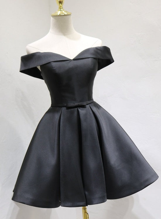 Black Satin Knee Length Handmade Homecoming Dress, Black Short Prom Dress