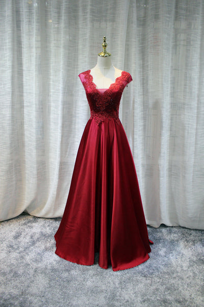 Red Satin Long Party Dress 2019, Red Formal Gown, Evening Dresses 2019