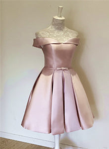 Pink Sweetheart Satin Knee Length Party Dress, Pink Handmade Homecoming Dress