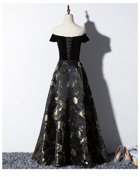 Beautiful Black Satin Party Dress, Handmade Prom Dress 2020