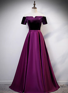 purple long prom dress