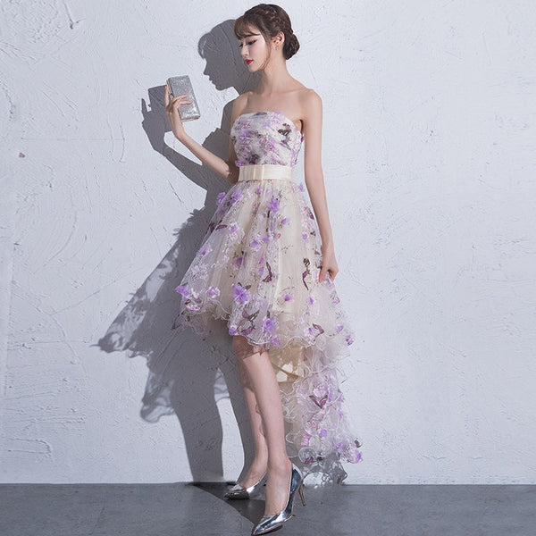Beautiful Flowers Tulle High Low Scoop Party Dress, Short Homecoming Dress