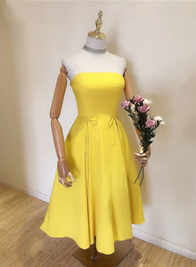 Beautiful Yellow Simple Short Wedding Party Dress, Cute Formal Dress