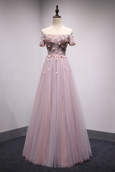 Dark Pink Tulle Off Shoulder Floor Length Party Dress, Charming Formal Gown 2019