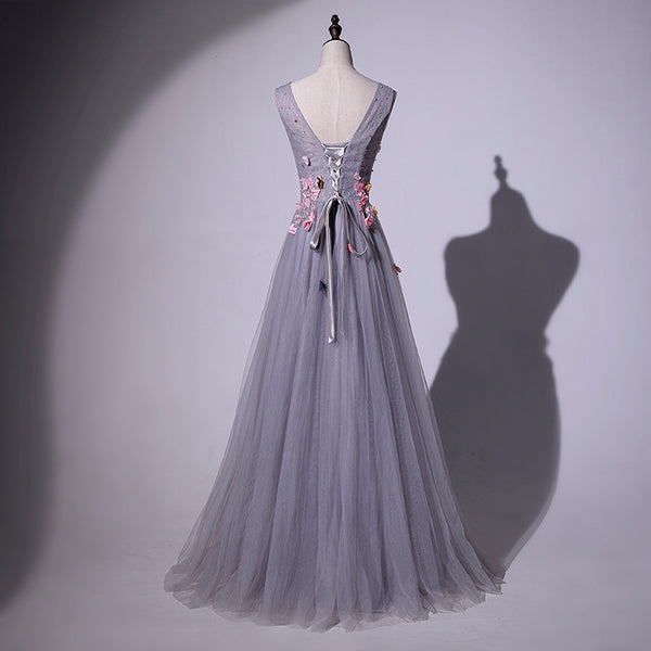 Elegant Handmade Grey Long Evening Gown, Grey Prom Dress 2020