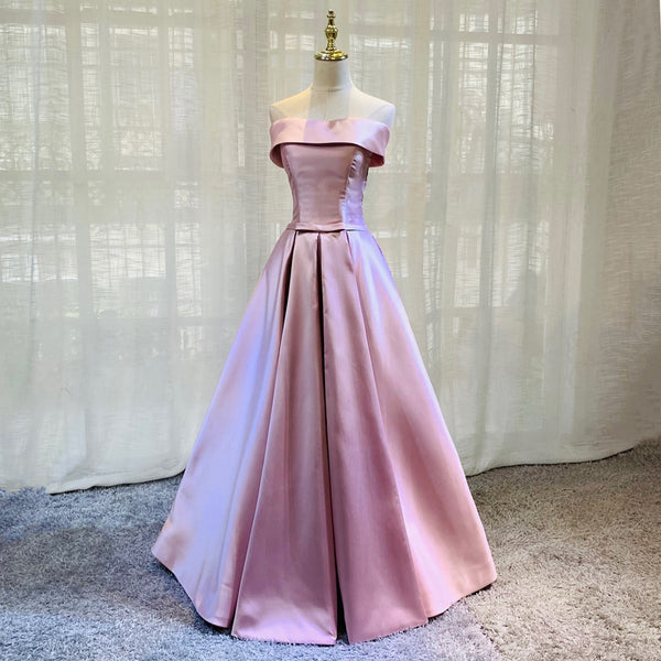 Simple Beautiful Satin Long Prom Dress, A-line Pink Evening Gown