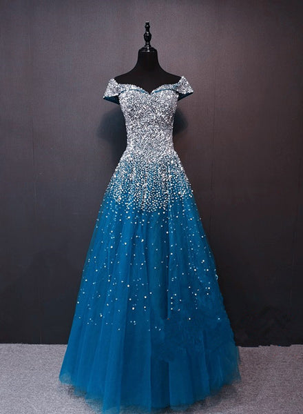 Beautiful Teal Blue Sparkle Beaded Long Formal Dress, Blue Prom Dress