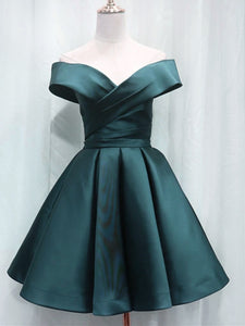 Charming Dark Hunter Green Satin Bridesmaid Dress, Short Homecoming Dress