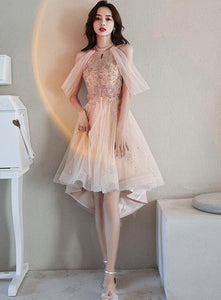 Off Shoulder Pink High Low Tulle with Beaded Homecoming Dress, Pink High Low Prom Dress Graduation Dress