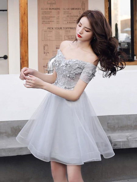 Beautiful Tulle with Flower Lace Applique Part Dress, Off Shoulder Prom Dress