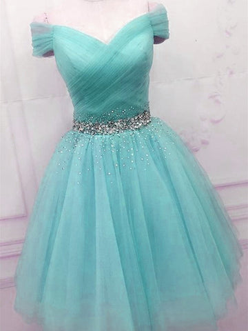Off Shoulder Blue Tulle Prom Dresses, Cute Blue Homecoming Dresses