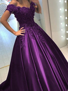 Dark Purple Satin Off Shoulder Long Lace Prom Dresses, Off the Shoulder Long Junior Prom Dress