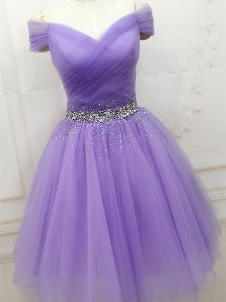 Purple Sequins Off Shoulder Fashionable Party Dress, Short Prom Dress Homecoming Dress